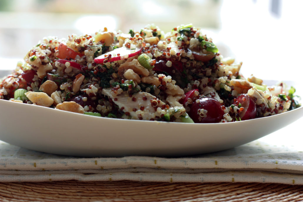 quinoa salad with grapes and radish