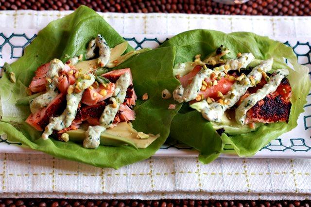 salmon lettuce wraps