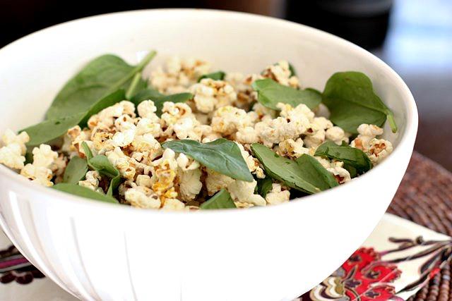 Popcorn Spinach Salad