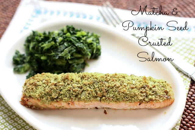 matcha tea and pumpkin seed crusted salmon