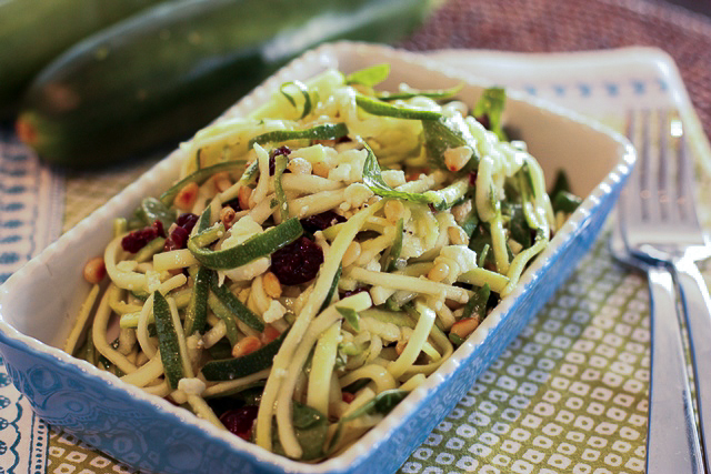 lemony zucchini noodles with baby spinach and dried cherries