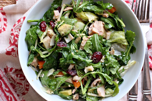 green salad with cranberry dressing