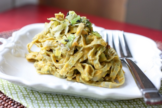 Mung Bean Fettuccine with Leeks and Pumpkin
