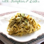 Pumpkin Leek with Edamame and Mung Bean Fettuccine