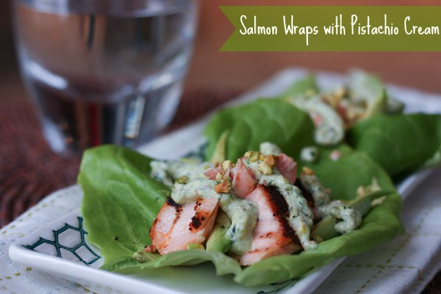 raw salmon wraps with pistachio cream
