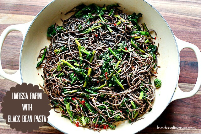 Black Bean Pasta Rapini with Harissa