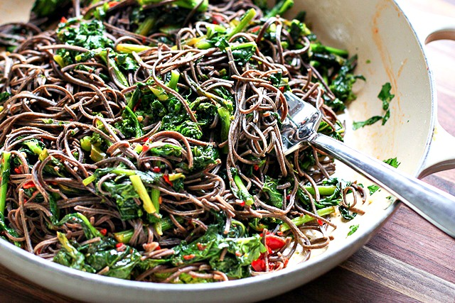 Broccoli Rabe Black Bean Pasta with Harissa