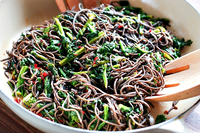 Harissa Rapini with Black Black Pasta