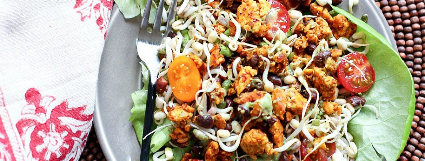 5-Spice Tempeh Taco Salad -- super easy, vegetarian and gluten free meal!