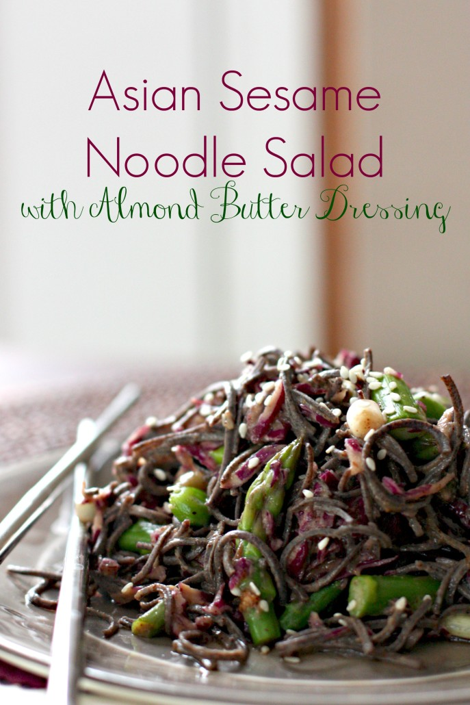 This Asian Sesame Noodle Salad with Almond Butter Dressing is the perfect dish to celebrate spring! It's vegan and gluten-free made with black bean noodles, fresh asparagus and beautiful purple cabbage.