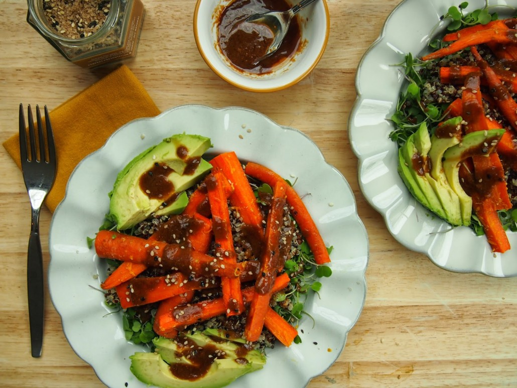 Roasted Carrot and Quinoa Salad With Soy-Miso Dressing