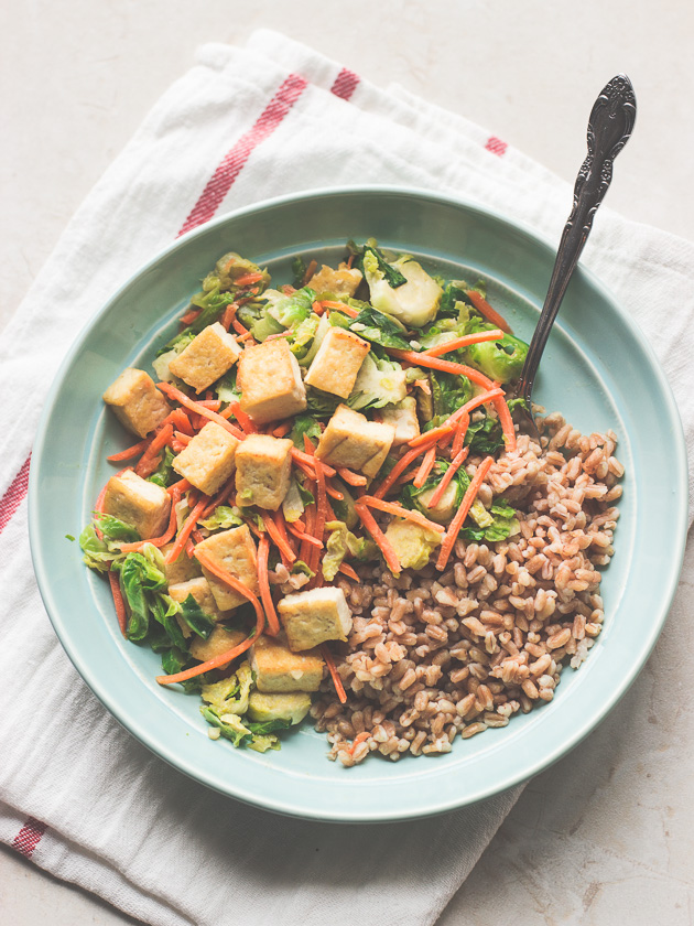 Tofu-and-Brussels-Sprouts-in-Miso-Sauce-with-Farro