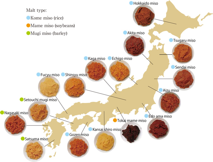 These are the different regions where miso paste is cultivated