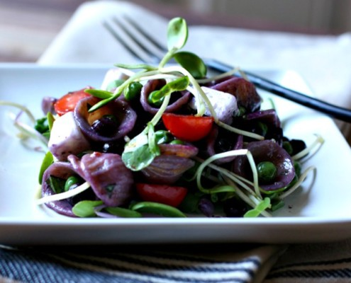 Wild Blueberry Pasta with Peas and Microgreens