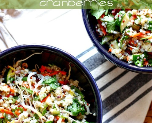 Chopped quinoa salad with cranberries -- perfect lunch for spring! #vegan #cleaneats #salad @danielleomar