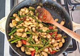Asparagus and white beans with cilantro pesto -- the perfect weeknight dinner! @danielleomar #glutenfree #cleaneating