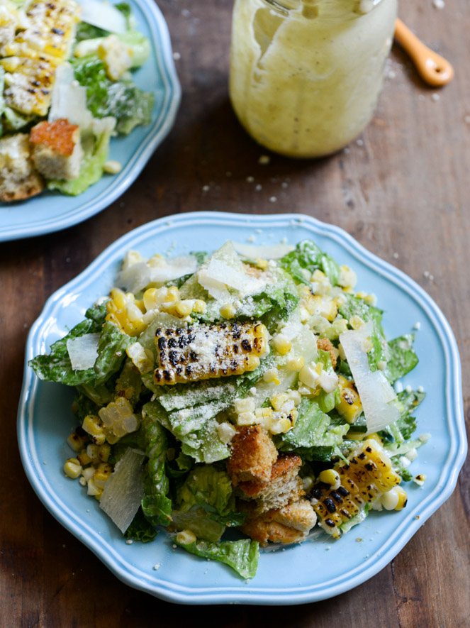 Grilled corn caesar salad