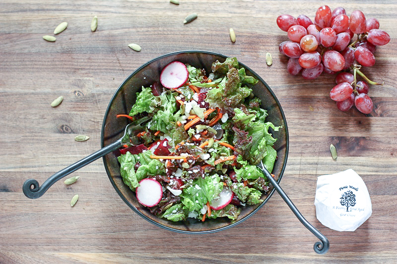 Antioxidant rich all RED salad with lemony dressing is a delicious lunch or dinner side.