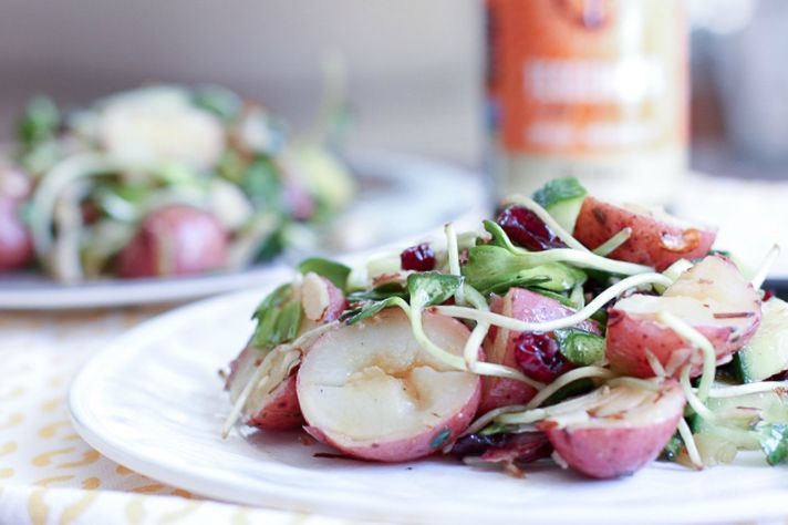 Asian Style Potato Salad using Soy Ginger Tessemae Salad Dressing
