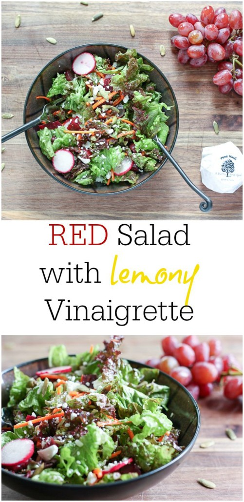 Antioxidant rich RED salad with lemony dressing is delicious lunch!