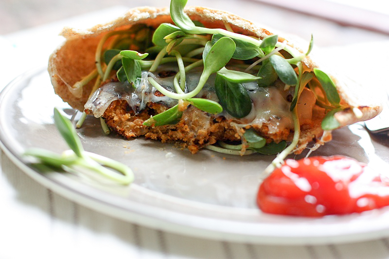 Freezer Friendly Bean Burgers On Whole Wheat Pita Perfect For A Quick Healthy Vegetarian