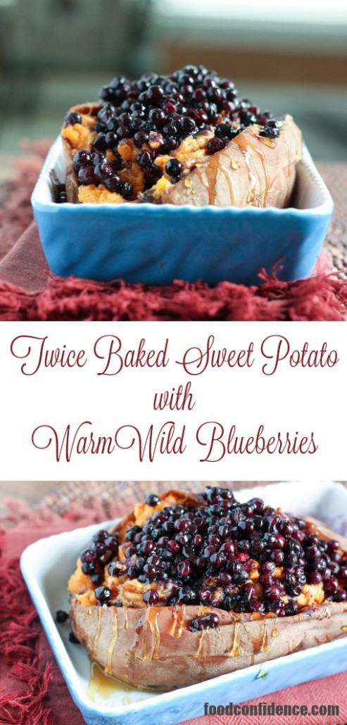 Twice Baked Sweet Potato with Wild Blueberries