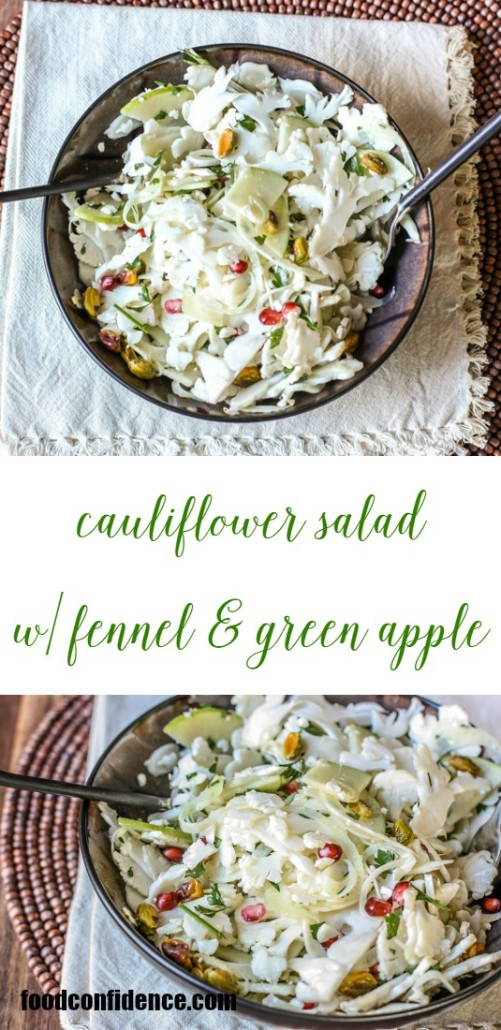 Try this sliced cauliflower salad with fennel and green apple recipe for a gorgeous holiday side dish. Crunchy and delicious on it's own, too! via @danielleomar