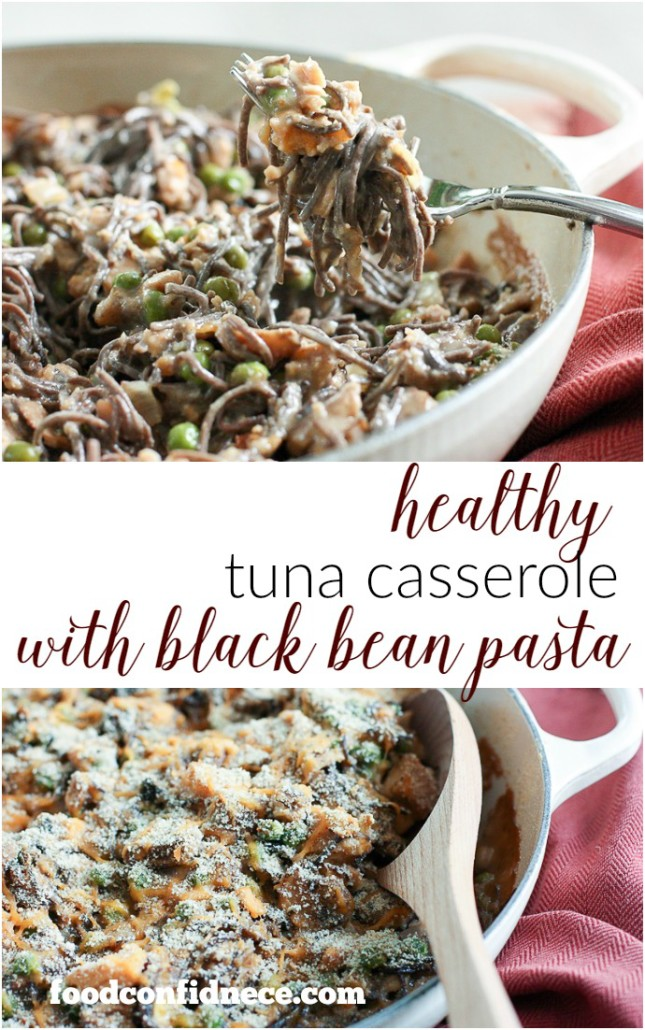 Healthy tuna casserole with black bean pasta. The perfect weeknight recipe that will please the whole family!