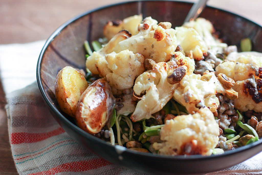 Roasted Cauliflower and Potato Salad with Lentils