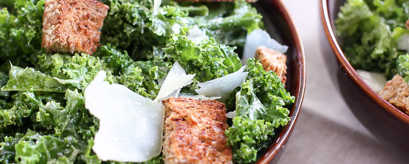 Miso kale caesar with sprouted bread croutons