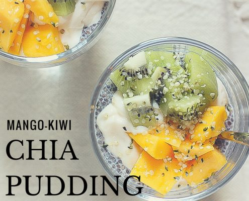 The perfect breakfast or afternoon snack, tropical mango and kiwi chia seed pudding!