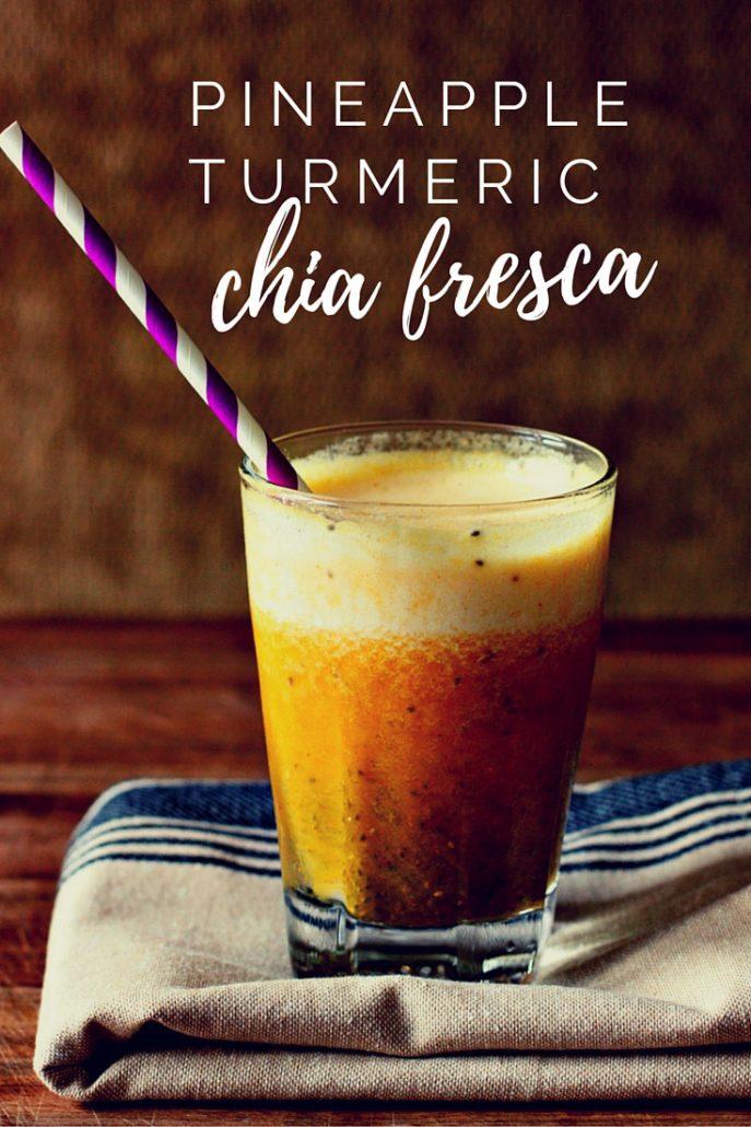 Healthy, antioxidant rich pineapple chia fresca with turmeric