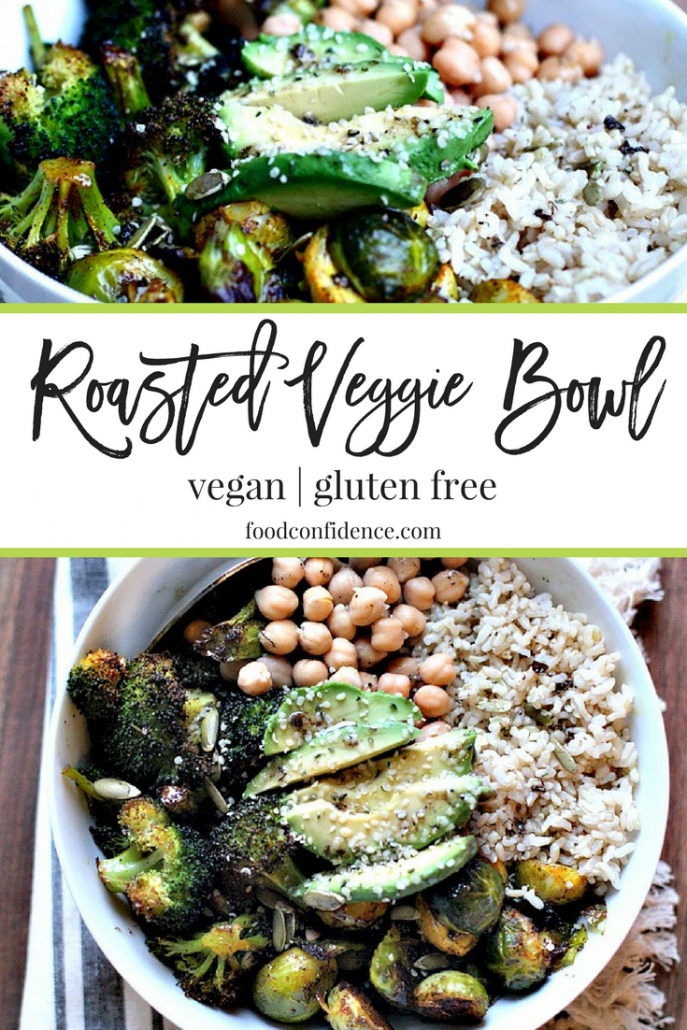"ven if you're not the best ""cook"" out there, these roasted veggie bowls are so simple to put together. Next time your grocery shopping, buy 2-3 cruciferous-type vegetables you'd like to eat in the coming week, roast them up with some olive oil and sea salt and then start building your bowl with other ingredients you have on hand. I used brown rice in this bowl, but quinoa would work well, as would farro."