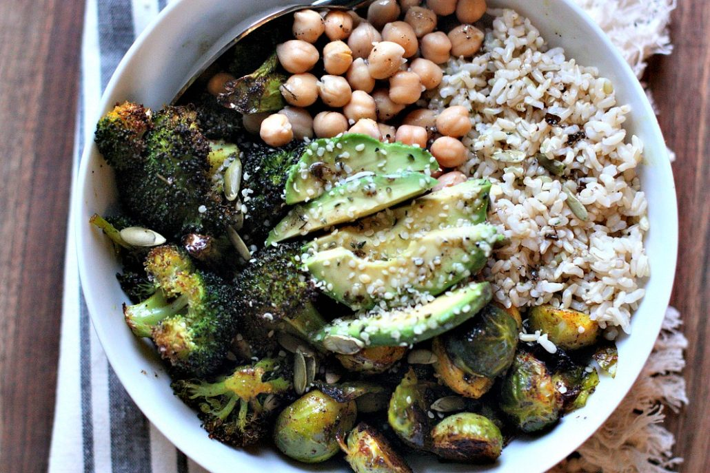 Roasted Brussels sprouts, roasted broccoli and chick peas round out this delicious veggie bowl! Avocado and brown rice add more fiber and texture. Delicious and easy!