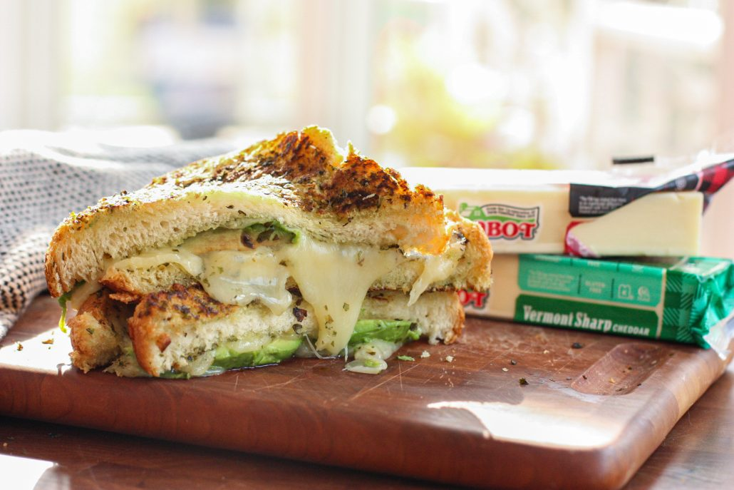 Grilled Cheese with Cabot Cheese, Avocado and Basil