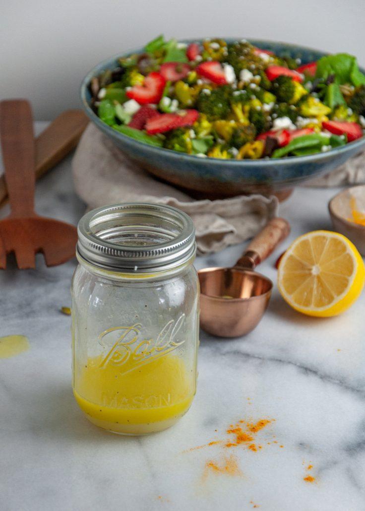 Mason jar with dressing