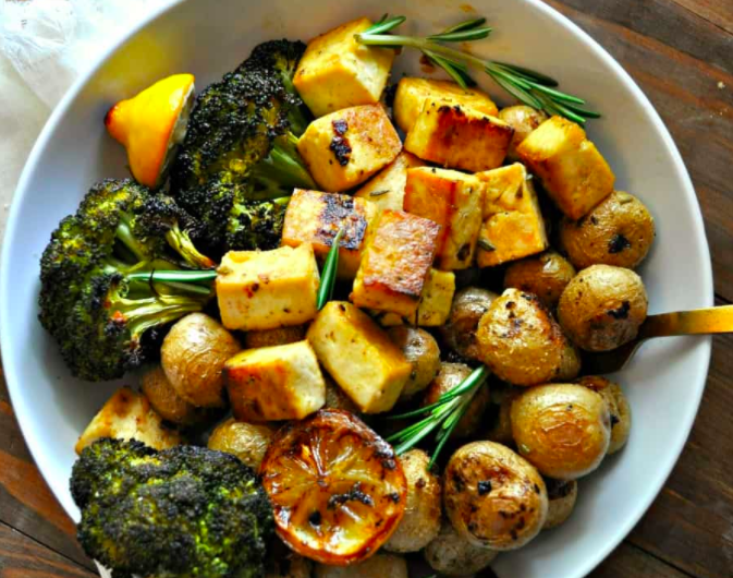 Vegan Dijon Rosemary Sheet Pan Dinner