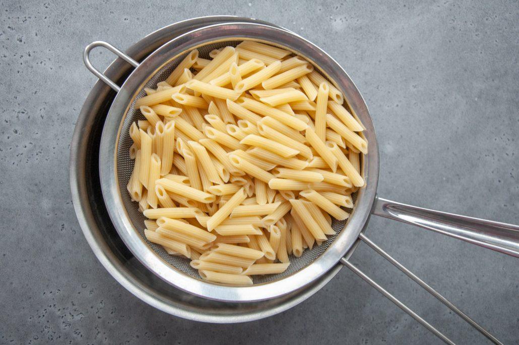 Pasta ready to go in the Salmon Puttanesca
